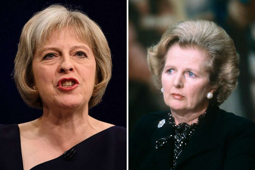 The new leader of Britain's Conservative Party and British PM Theresa May (left) and former British PM Margaret Thatcher.