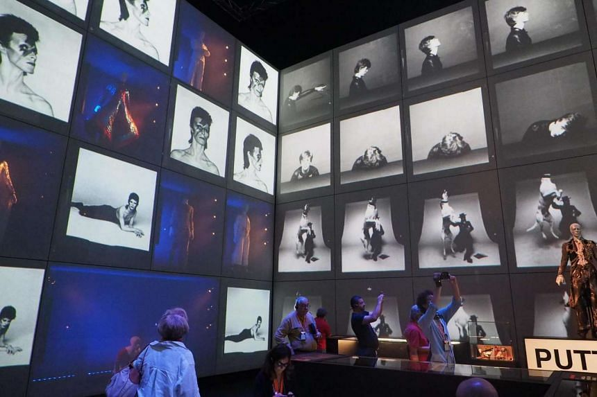 A view at items on display during the press preview of the exhibition David Bowie Is at the Museum of Modern Art in Bologna, Italy, July 13.