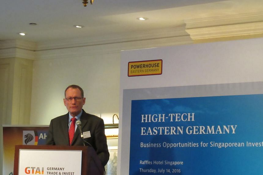 Dr Jurgen Friedrich, CEO of Germany Trade and Invest, speaking at Raffles Hotel on July 14, 2016.