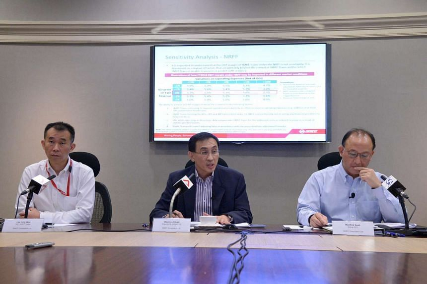 (From left) SMRT Trains Managing Director Lee Ling Wee, President and Group CEO  Desmond Kuek and Group Chief Financial Officer Manfred Seah addressing the press conference on LTA taking over its assets.