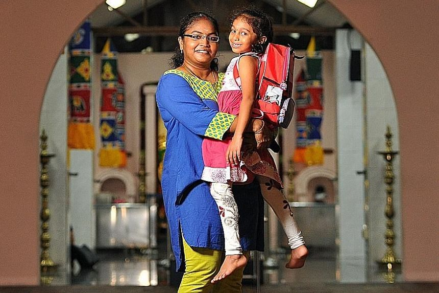 Housewife Narayana Vanisri says she hopes to find a secondary school that will help her daughter Thaswika, who is in Primary 1 this year, pursue her interest in dance and art.
