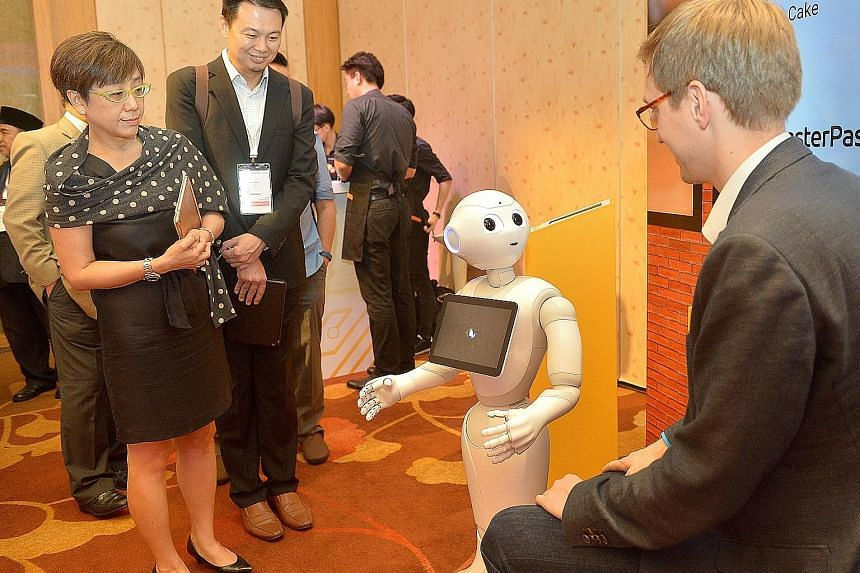 Pepper uses sensors in its eye sockets to read the emotions of people it talks with.