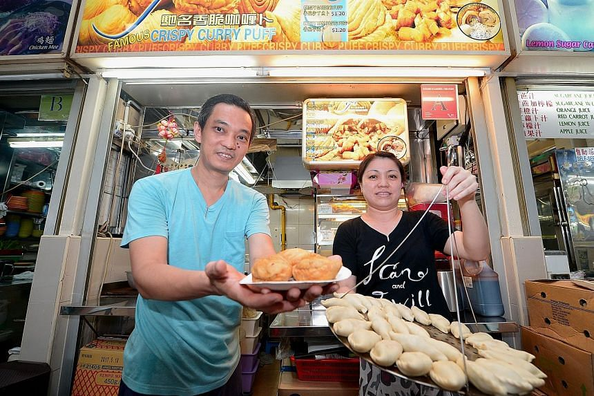 Famous Crispy Curry Puff at Amoy Street Food Centre, run by owner Lee Meng Li, 47, and his wife Kris Goh, 39, is among the food outlets given the Bib Gourmand rating for excellent food costing not more than $45.