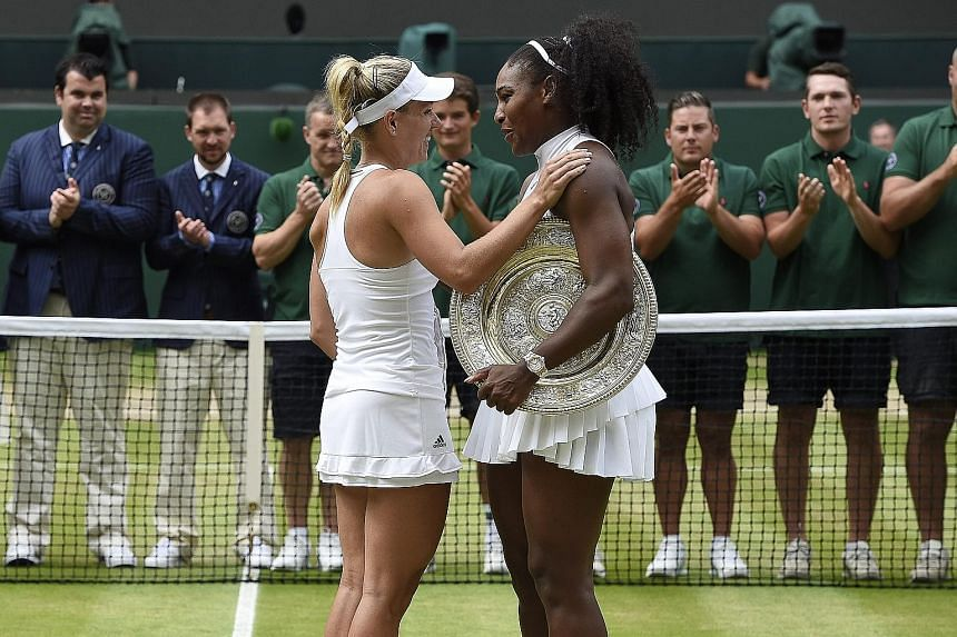"Angelique Kerber (left) after being beaten 7-5, 6-3 by Serena Williams in the Wimbledon final on July 9. Former No. 1 Chris Evert says Williams' serve is ""the greatest ever seen in women's tennis""."
