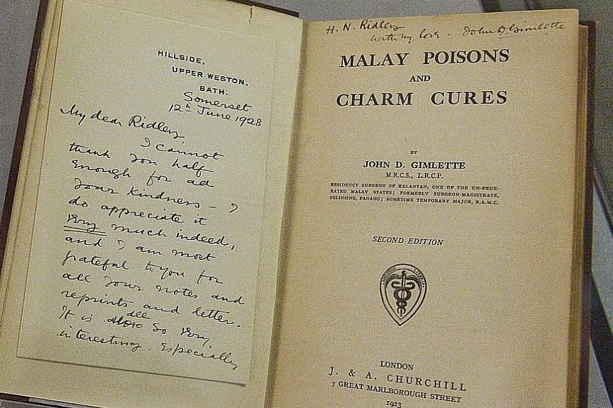 Items displayed during a media preview of the Rare Gallery yesterday included a 1923 text by Dr John Gimlette titled Malay Poisons And Charm Cures (above) and a bust of Raffles alongside letters he wrote to his cousin describing how well Singapore wa