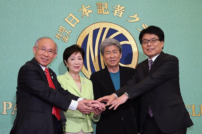 The candidates for the upcoming July 31 election include (from left) lawyer Kenji Utsunomiya, former defence and environment minister Yuriko Koike, journalist Shuntaro Torigoe and former internal affairs and communications minister Hiroya Masuda.