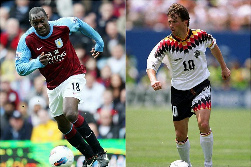 Former Liverpool striker Emile Heskey (left) and Lothar Matthaus, captain of the World Cup-winning West Germany team in 1990, will go head to head in Battle Of Europe 2016 - England Masters vs Germany Masters.