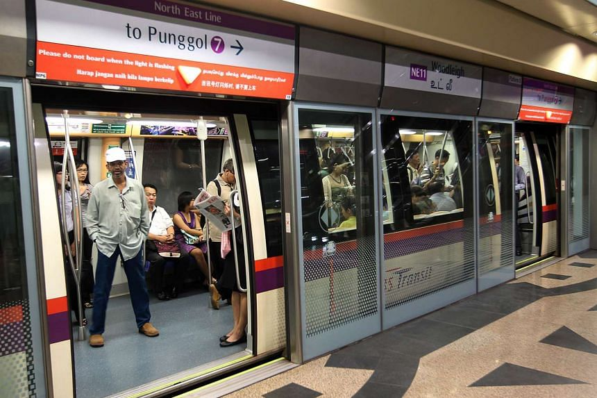 Woodleigh MRT station on the North East Line, operated by SBS Transit.