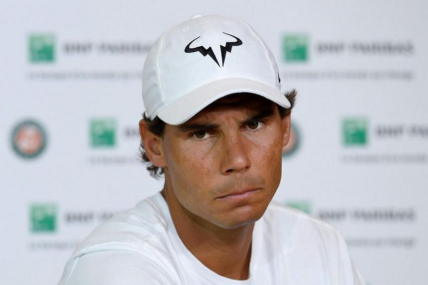 Rafael Nadal at a press conference to announce his withdrawal from the French Open on May 27.