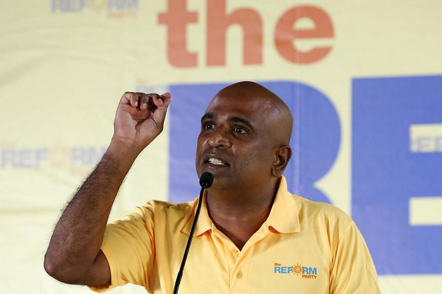 Lawyer M. Ravi, a Reform Party's (RP) candidate for the Ang Mo Kio GRC, speaking at the RP rally at Yio Chu Kang Stadium on Sept 4, 2015.