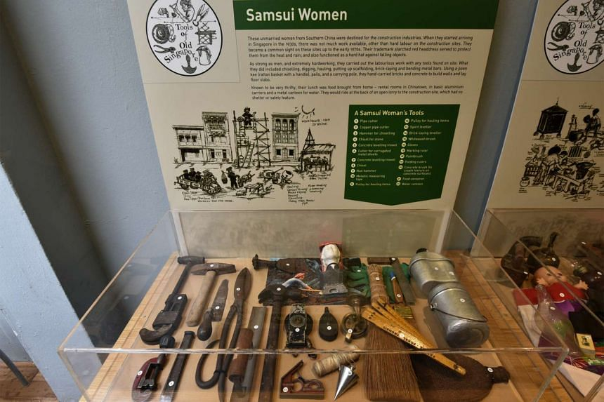 Tools used by samsui women on show at A Living Heritage Museum.