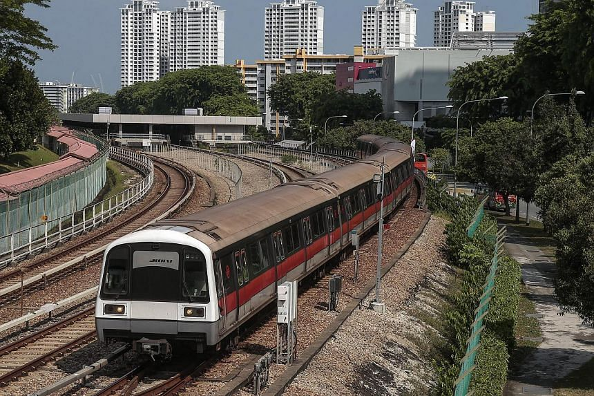 A train operated by SMRT leaves the Ang Mo Kio station on July 7.