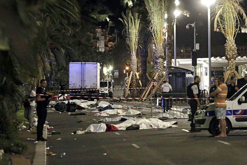 The aftermath of the attack after a lone assailant drove a truck into a crowd watching Bastille Day fireworks on Thursday night. Apart from the 84 people dead, about 50 others were in critical condition. World leaders and public figures, including to