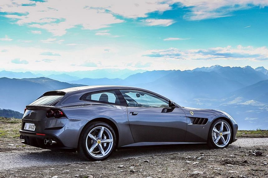 The Ferrari GTC4Lusso has four-wheel steering, which further stabilises the car around corners.