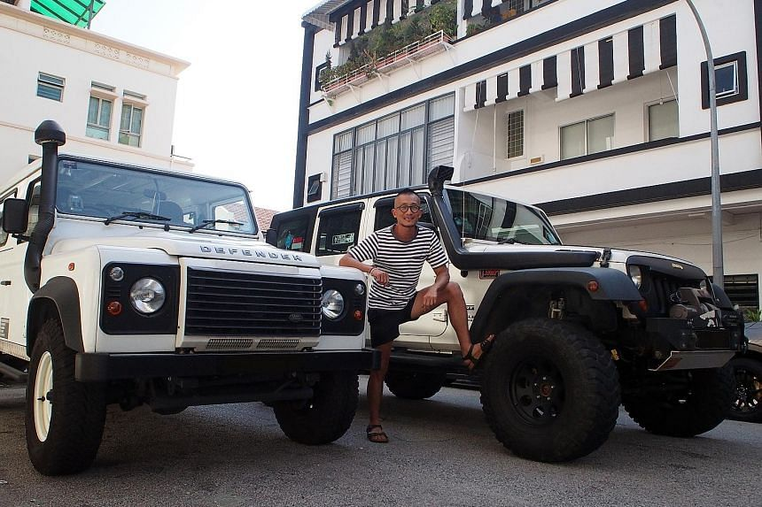 Joe Oh and his Jeep Wrangler Unlimited Sport and Land Rover Defender 110.