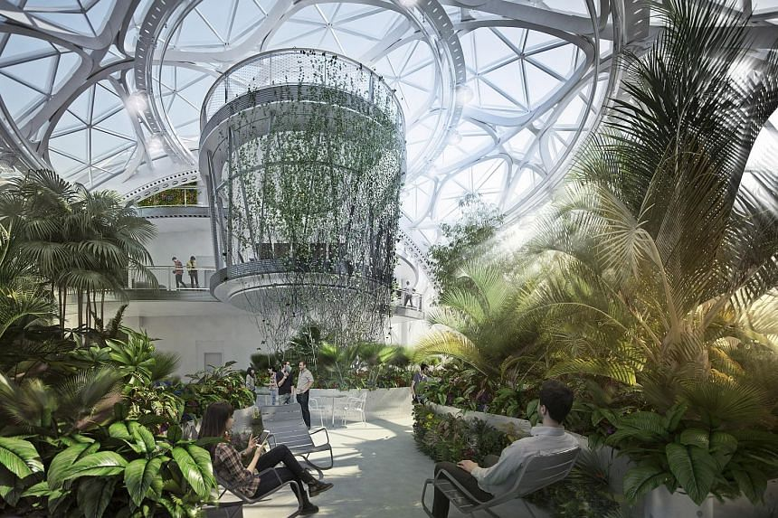 A rendering of the interior (above) of the spheres (left) in Amazon's upcoming complex in Seattle.