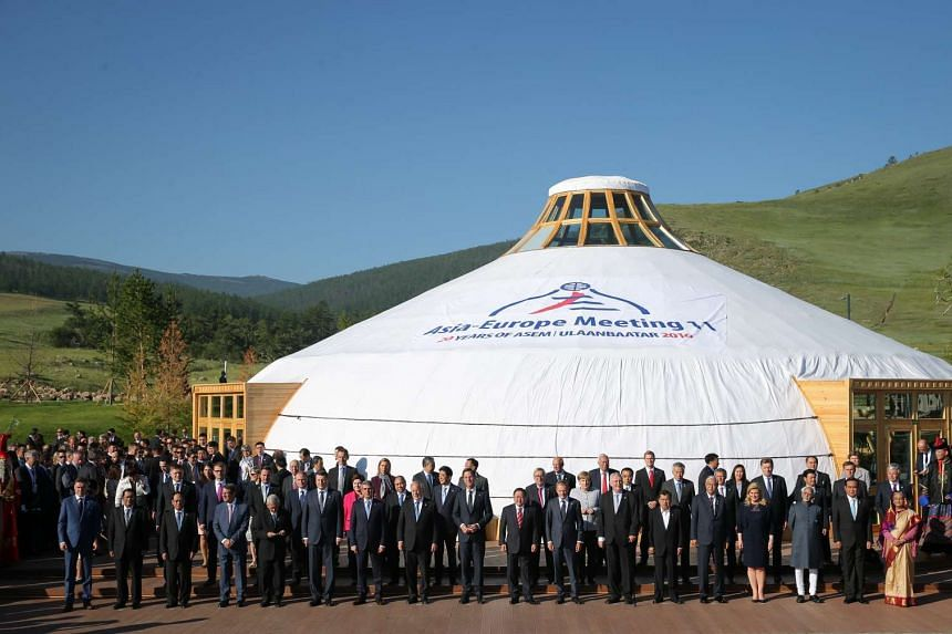 Asian and European leaders in Mongolia for the Asia-Europe Meeting (ASEM).