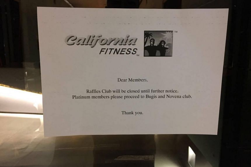 Gym chain California Fitness announced the closure of its Raffles Place outlet on July 16, 2016.