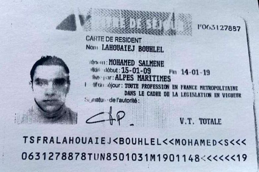 A reproduction of the residence permit of Mohamed Lahouaiej-Bouhlel, provided by the French police.
