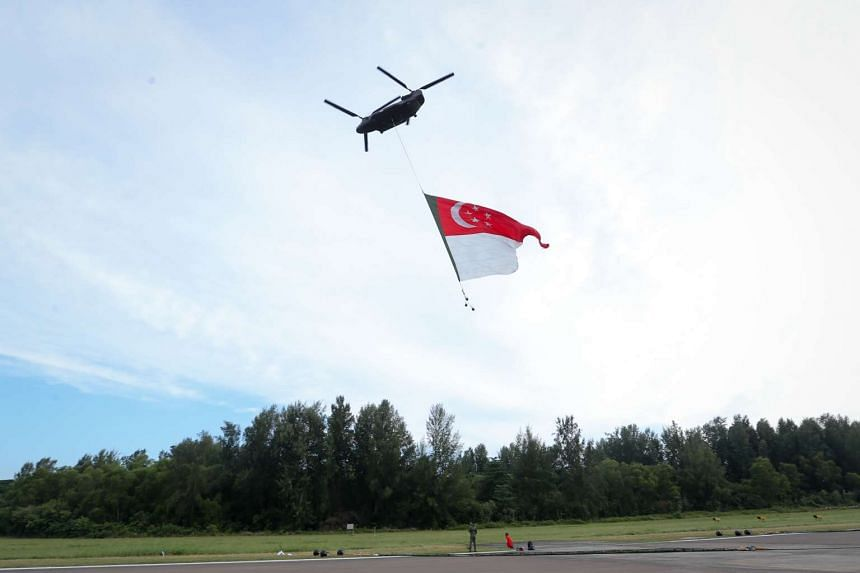 The State Flag carried by the CH-47D Chinook helicopter that will perform the State Flag Flypast during the National Day Parade.