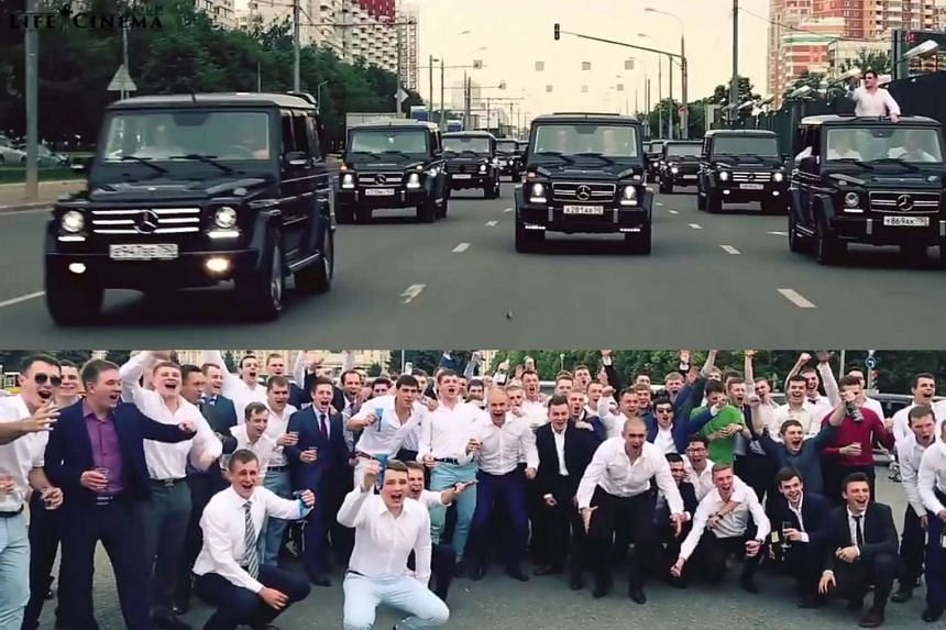 Graduates of Russia's top security academy FSB in a video showing them riding around Moscow in rented luxury vehicles which cost at least $140,000 each. The agents ordered a slickly produced professional video of their parade, posing with their fac