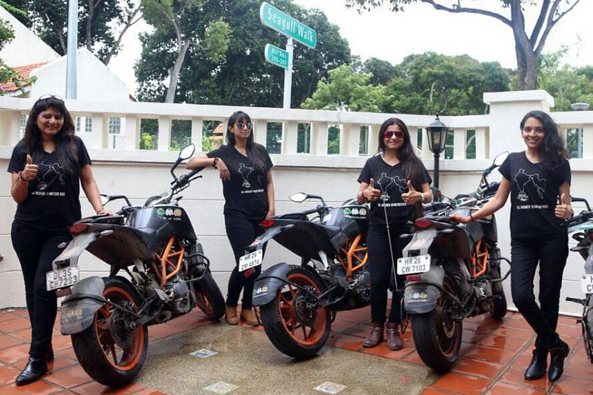 Biking Queens (from left) Durriya Tapia, Yugma Desai, Sarika Mehta and Khyati Desai took a 10-nation, 10,000km ride across Asia to champion the cause of women and help end sex-specific abortions.