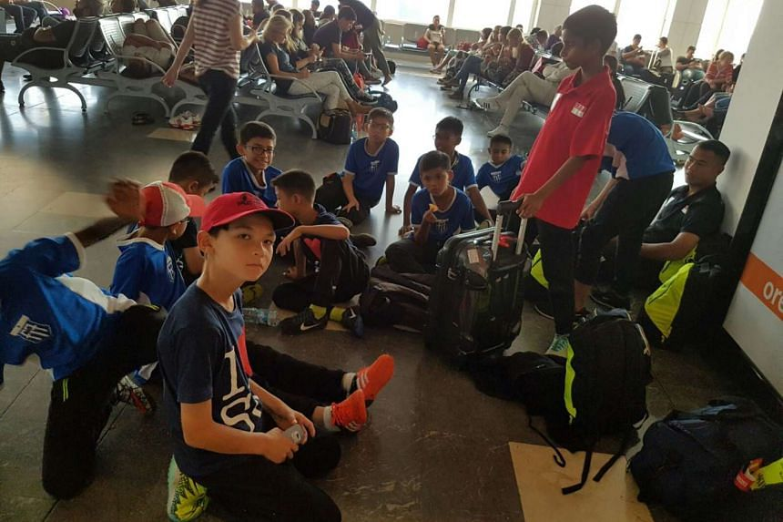 The children's football from the F-17 Academy stranded at Antalya Airport en route to the Gothia Cup in Sweden on July 16, 2016.