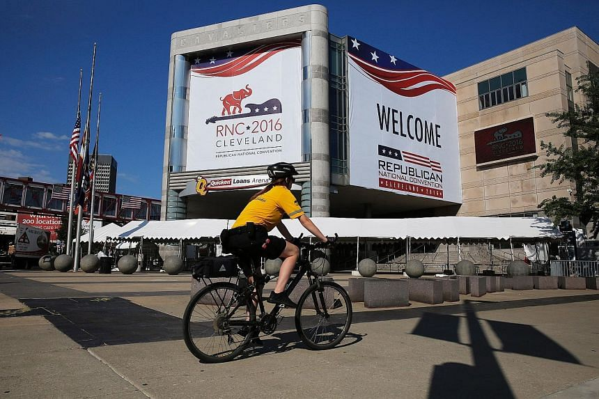 Workers erecting security barricades last week ahead of the convention, which will be missing some of the major names who normally grace these events. Actor Antonio Sabato Jr is the sole actor in the celebrity line-up. Mr Peter Thiel, a co-founder of