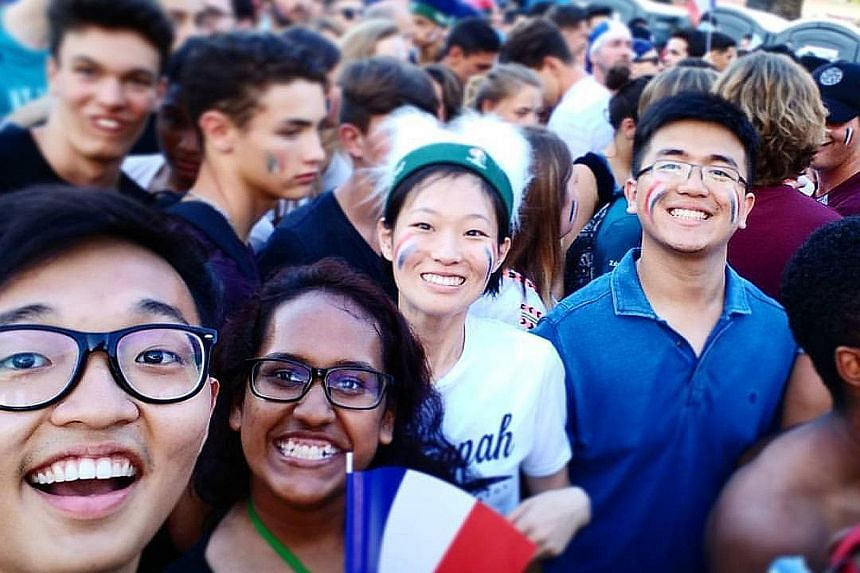 Mr Huang (far left), at a screening of a Euro 2016 football match in France with his friends the week before the Bastille Day attack. He had left the Promenade des Anglais shortly before the truck ploughed into the crowd.