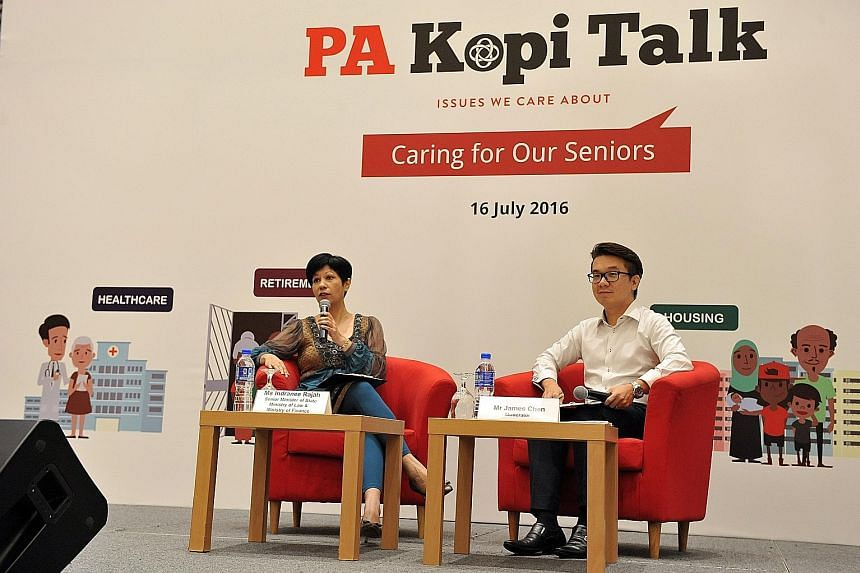 Ms Indranee, seen here with dialogue moderator James Chen, said it is important that grassroots leaders have enough information to explain government support schemes well to residents.