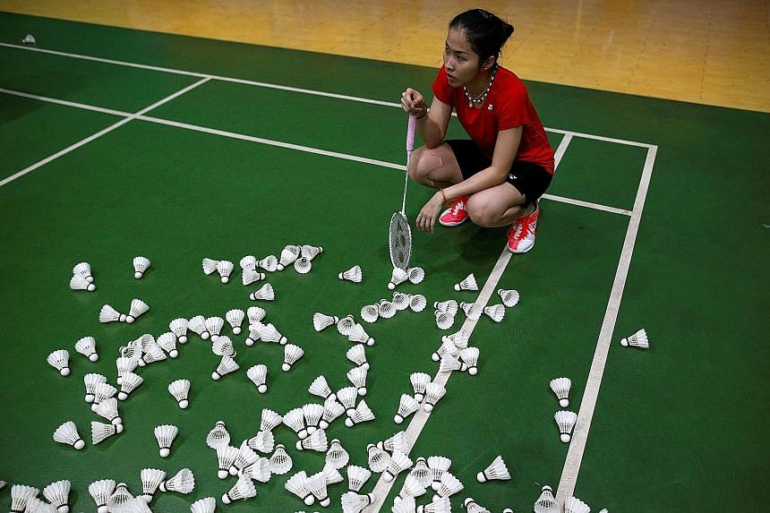 Thai shuttler Ratchanok Intanon, one of her country's best hopes for a medal in Rio, taking a break during training. It is likely she will know tomorrow if she can take part in the Games.