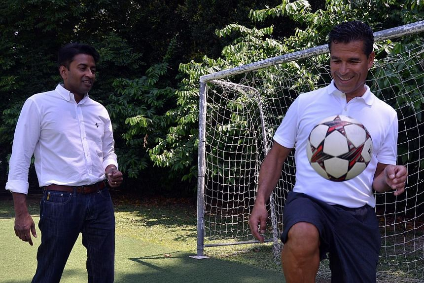 Tampines Rovers chairman Krishna Ramachandra (left) is setting up a new corporate social responsibility programme aimed at helping disadvantaged youth. It will be led by former United States international footballer Thomas Silvas.