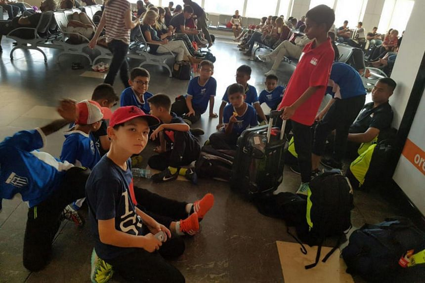 Children from Fandi Ahmad's F-17 Academy stranded in Istanbul's Antalya Airport.