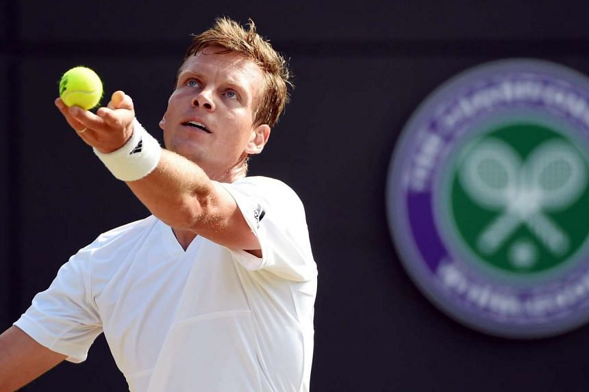 Berdych in action at the Wimbledon tennis tournament in London on July 6, 2016.