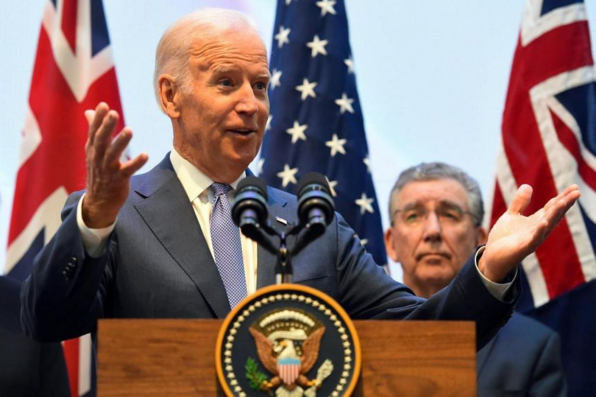 Mr Biden speaking at the Victorian Comprehensive Cancer Centre in Melbourne, Australia, on July 17, 2016.