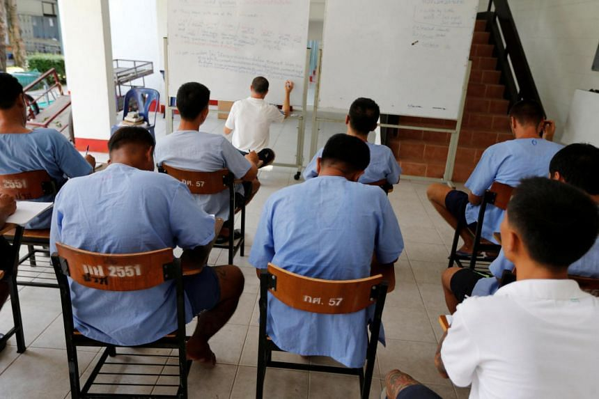 Inmates attend an English lesson inside Klong Prem high-security prison in Bangkok, Thailand, July 12.