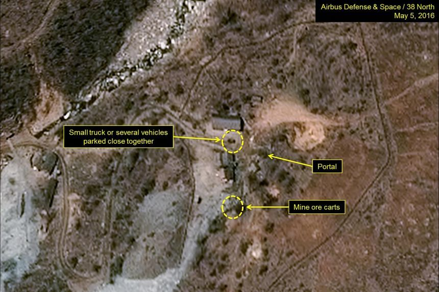 The Punggye-ri test site in North Korea is seen in an image from Airbus Defense and Space and 38 North taken May 5.