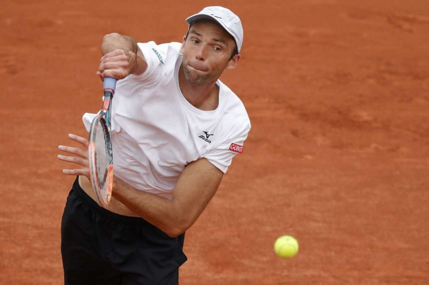 Ivo Karlovic plays at the Roland Garros 2016 French Tennis Open in Paris, on May 27, 2016.
