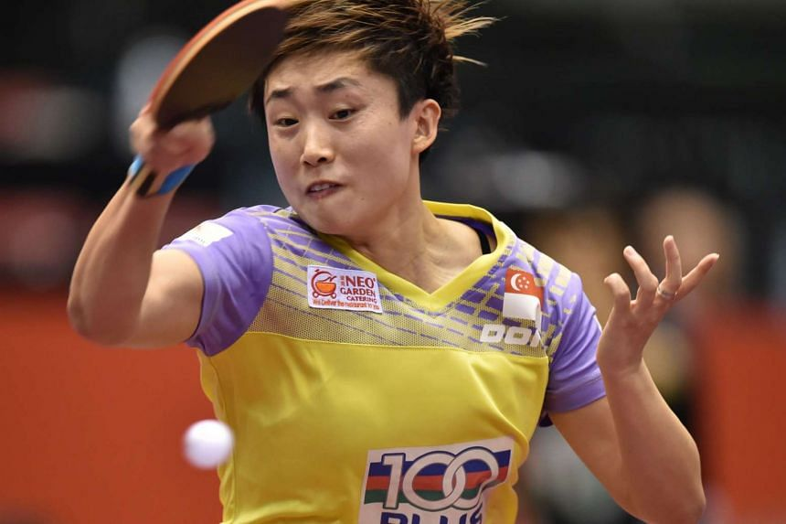 Feng Tianwei hits a return during the women's singles quarter-final table tennis match at the ITTF World Tour Japan Open table tennis tournament, on June 18, 2016.