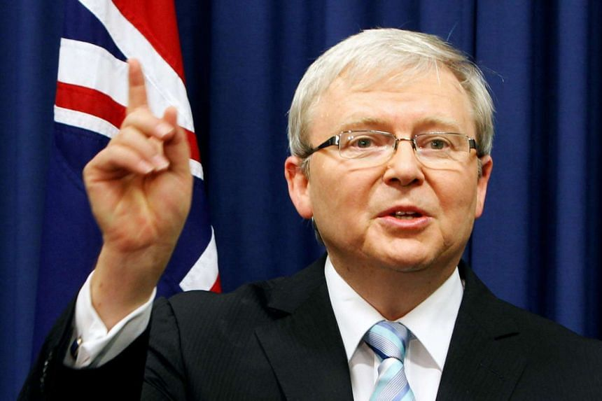 Ex-Australian prime minister Kevin Rudd at a news conference at the Commonwealth Parliamentary Offices in Brisbane on Feb 24, 2012.