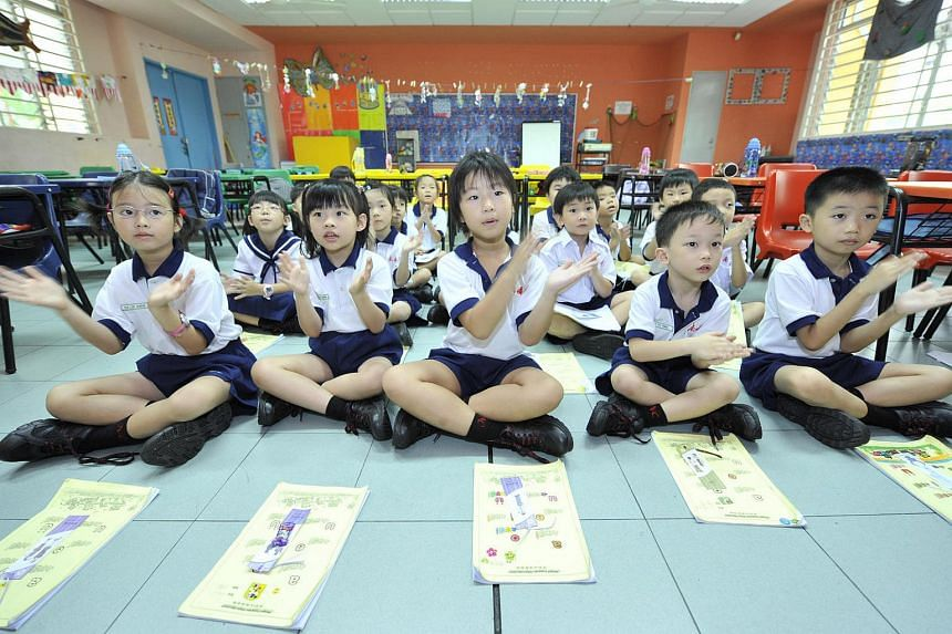 Students of Nan Chiau Primary School having chinese lessons.