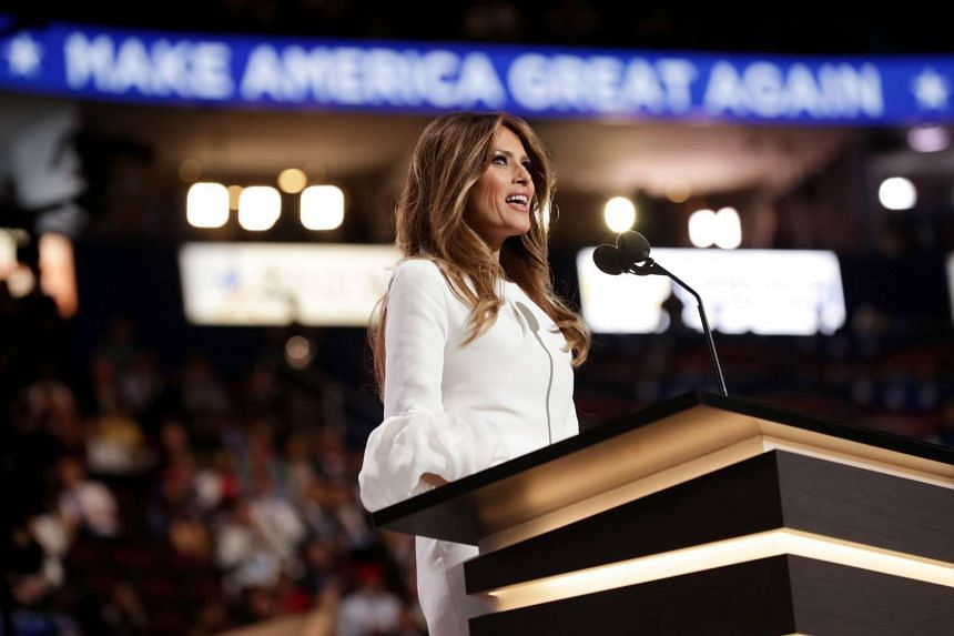 Melania Trump delivers a speech on the first day of the Republican National Convention, on July 18, 2016.