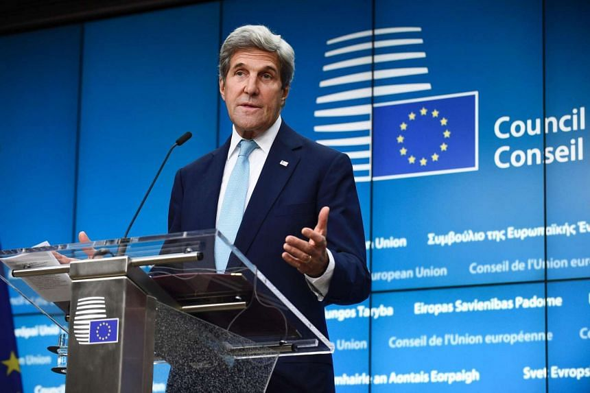 US Secretary of State John Kerry at a joint press conference with High Representative of the EU for Foreign Affairs and Security Policy and Vice-President of the Commission (unseen) after their bilateral meeting at the EU Headquarters in Brussels, on