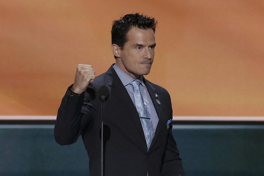 Actor Antonio Sabato Jr pumps his fist as he speaks at the Republican National Convention in Cleveland on July 18.