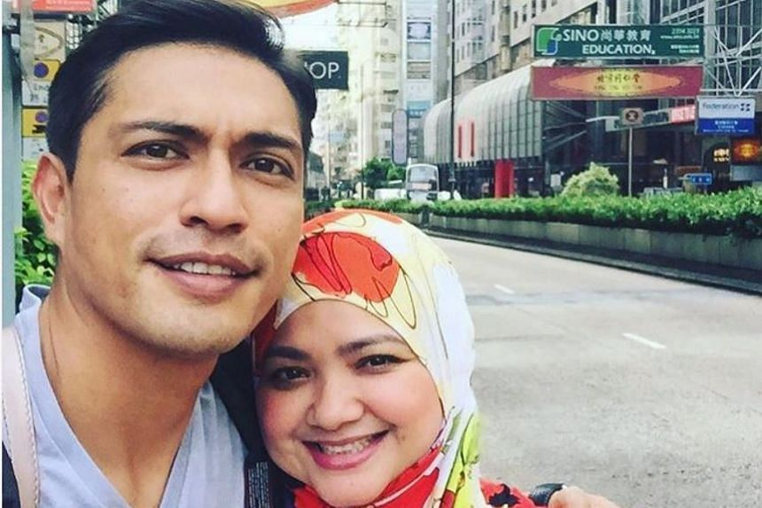 Singaporean actor Adi Putra (left) and his wife Aida Yusof, in a picture posted on Instagram, on July 18, 2016.