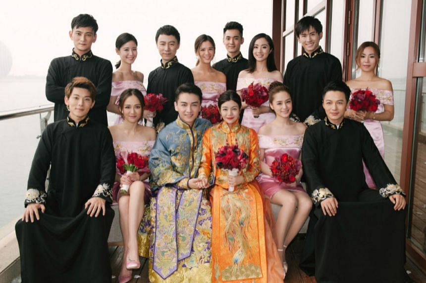 Guests attending the wedding celebrations of actors Chen Xiao and Michelle Chen, on July 19, 2016.