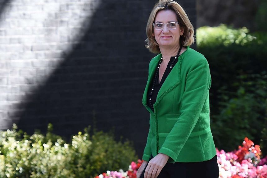 British Secretary of State for the Home Department Amber Rudd arriving for PM Theresa May's first Cabinet meeting, at 10 Downing Street, on July 19, 2016.