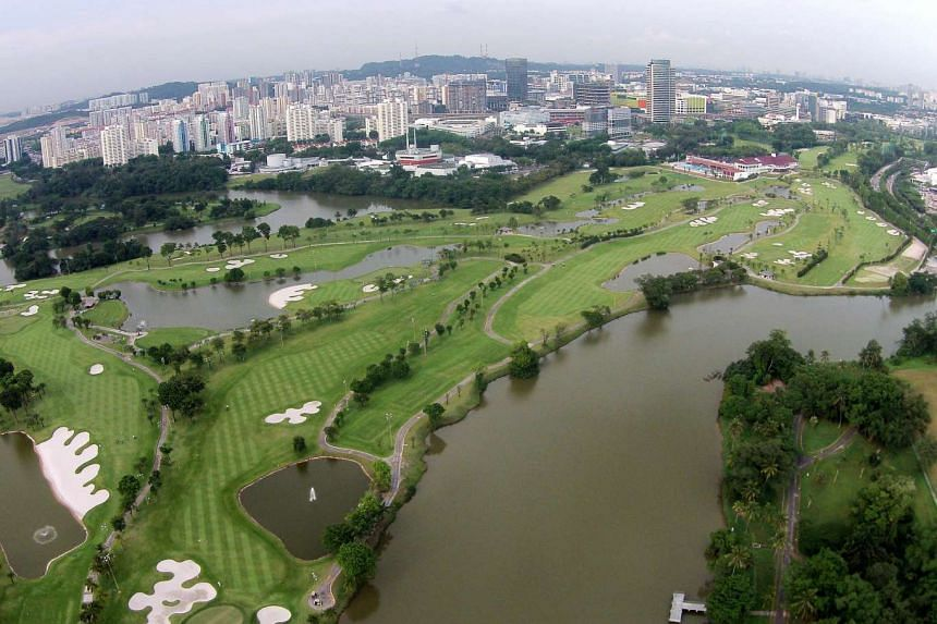 An aerial view of the Jurong Country Club site, where the high-speed rail Singapore terminus will be located.