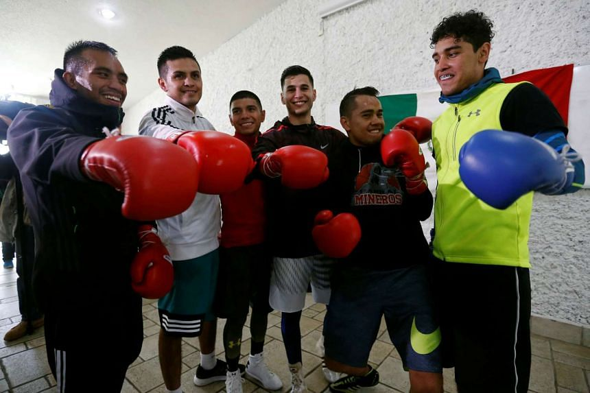 Mexico's Olympic boxing team after a training session in San Jose Teacalco, in Tlaxcala state, Mexico, on July 13, 2016.