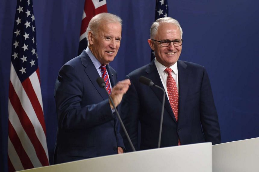 US Vice President Joe Biden (left) and Australian Prime Minister Malcolm Turnbull hold a joint press conference in Sydney, on July 19, 2016.